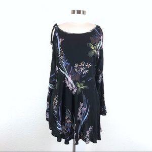 Free People Clear Skies Black Floral Mini Dress